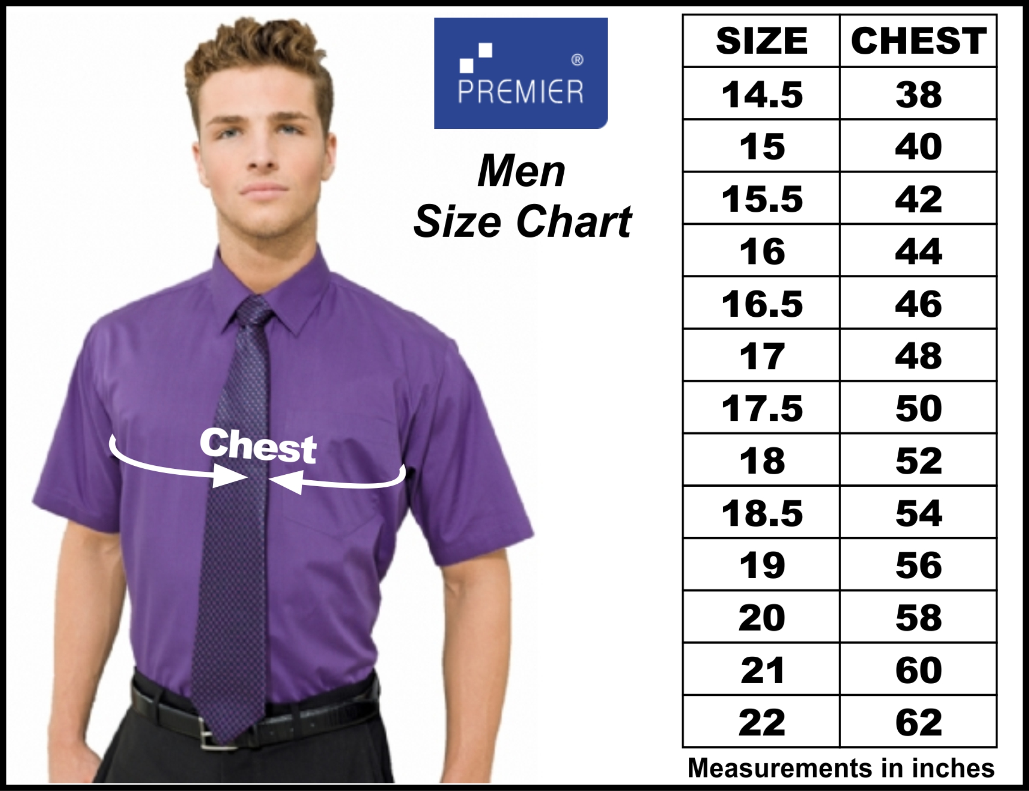 Give all measurements in inches. If the person's measurements are between sizes, order the larger size. For greatest accuracy, have someone take your measurements rather than yourself. The tape measure should be pulled snug, not tight. Check the size scale of all garments being ordered to ensure that all measurements were taken at the proper points.