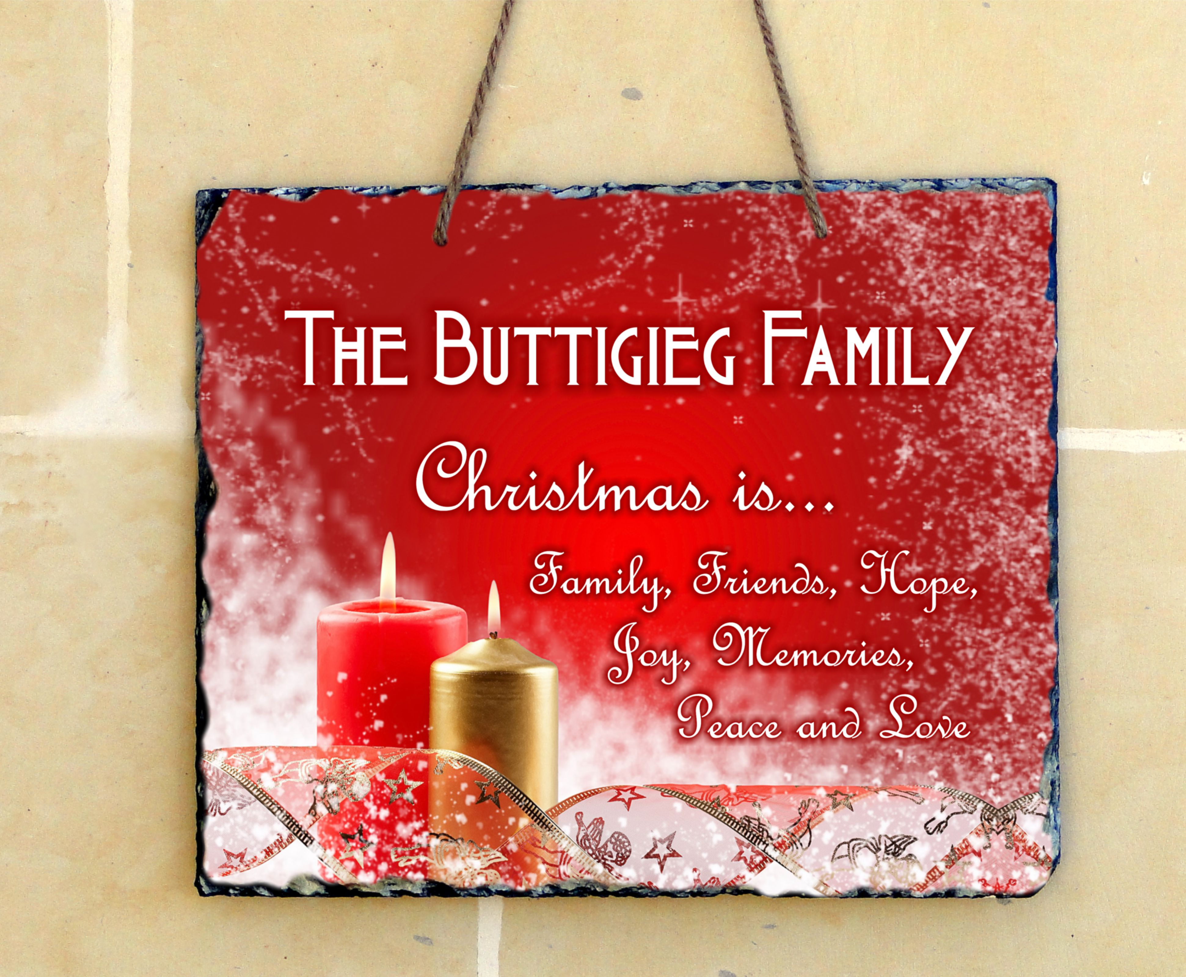 Christmas Personalized Hanging Slate (2 designs to choose from ...
