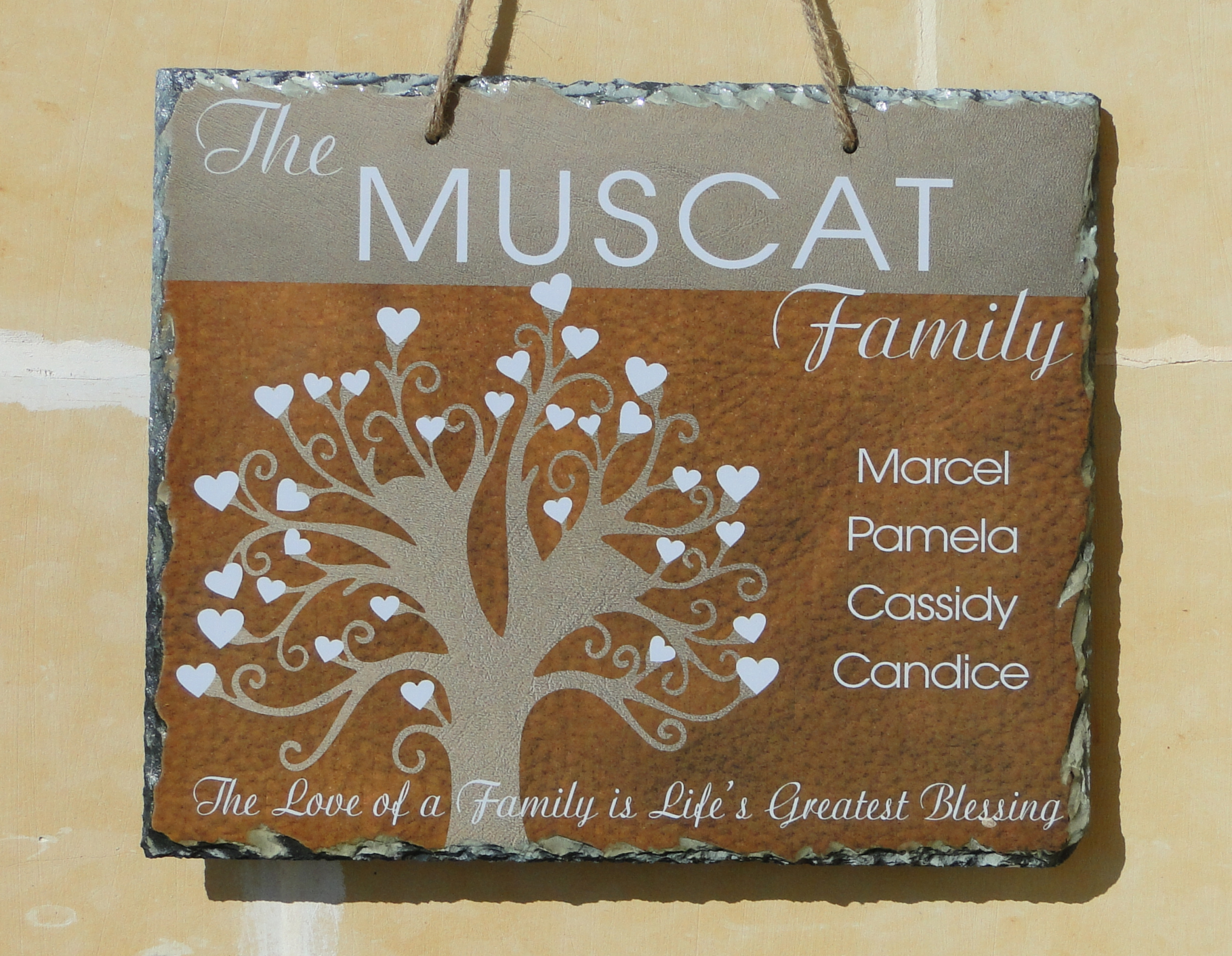 Family tree personalized hanging slate customize nation for Family tree gifts personalized