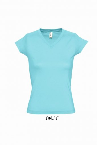 ... SOL'S Ladies Moon V Neck T-Shirt – 11388. 11388 Model. 11388 Atoll Blue  ...