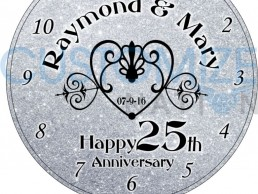CLK04 01 U2013 Silver Wedding Anniversary Personalized Desk Clock