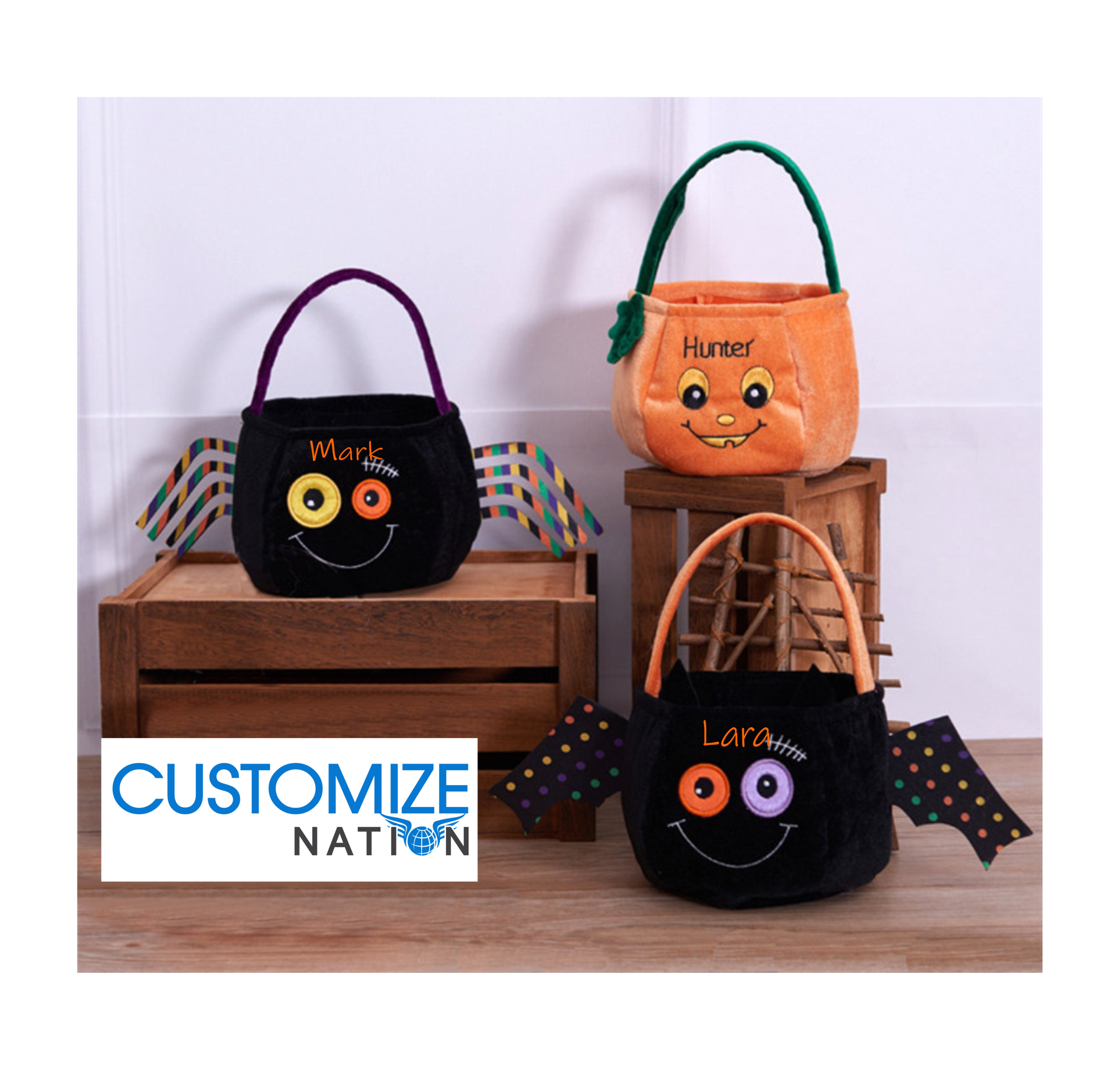 Halloween Trick Or Treat Bags Personalized.Personalized Embroidery Halloween Trick Or Treat Bags